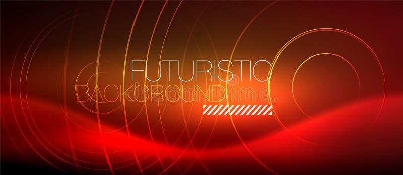 氖发光的techno排行,与方形的形状的高科技未来派抽象背景模板 向量例证