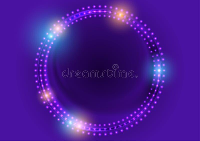 氖带领了光抽象紫罗兰色圈子背景 向量例证