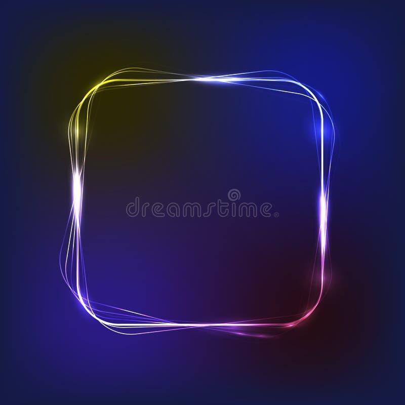 氖,与浅兰和淡紫色颜色的发光的框架与您的文本的空的地方,传染媒介例证 皇族释放例证