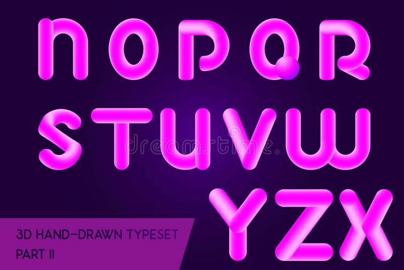 氖3D被环绕的标题字体 全息照相的被绘的信件类型 向量例证