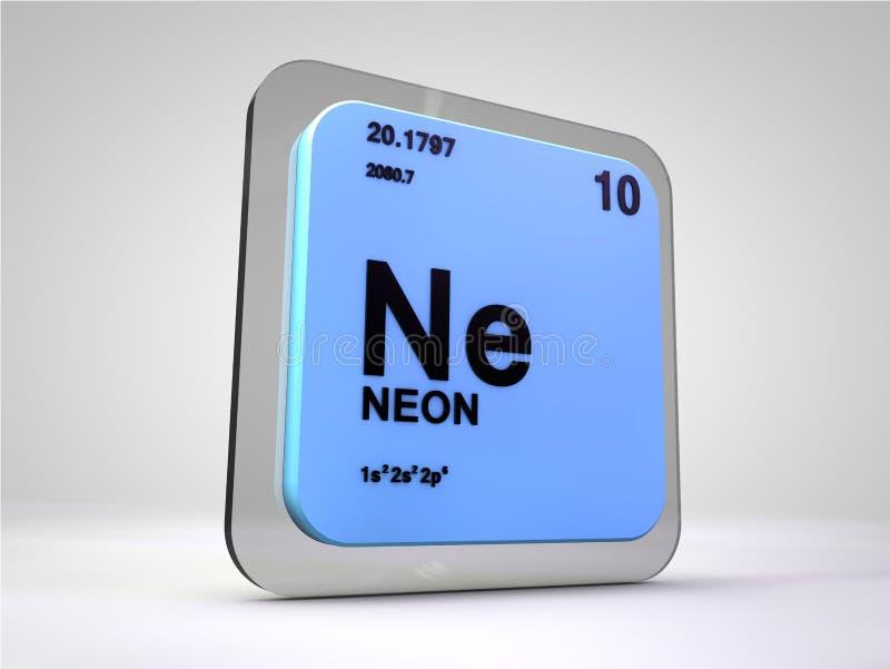 氖- Ne -化学元素周期表 向量例证