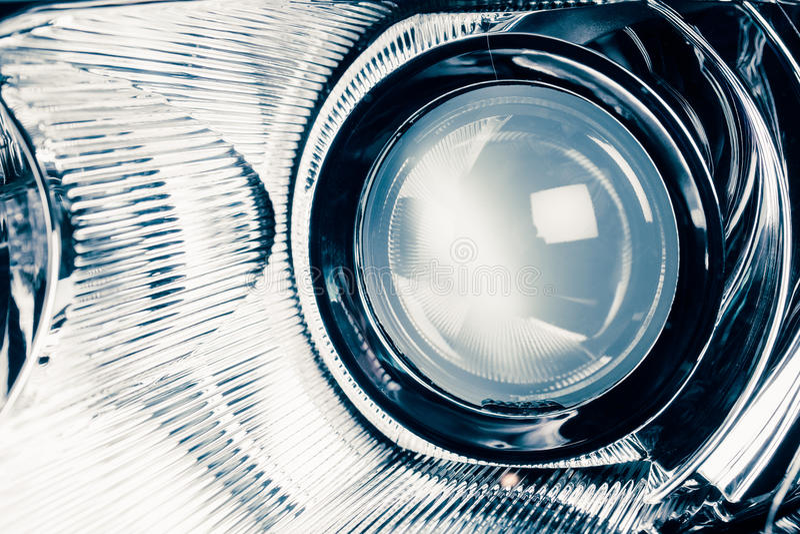 氙带领了车灯灯视觉透镜 库存图片