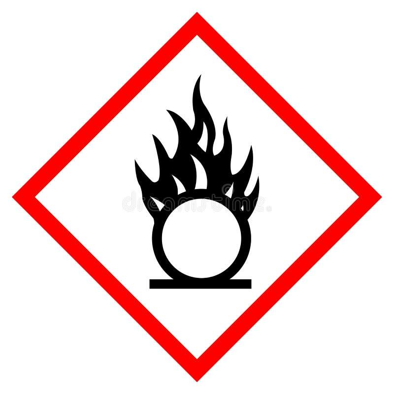 氧化剂危险标志标志,传染媒介例证,在白色背景,标签的孤立 EPS10 皇族释放例证
