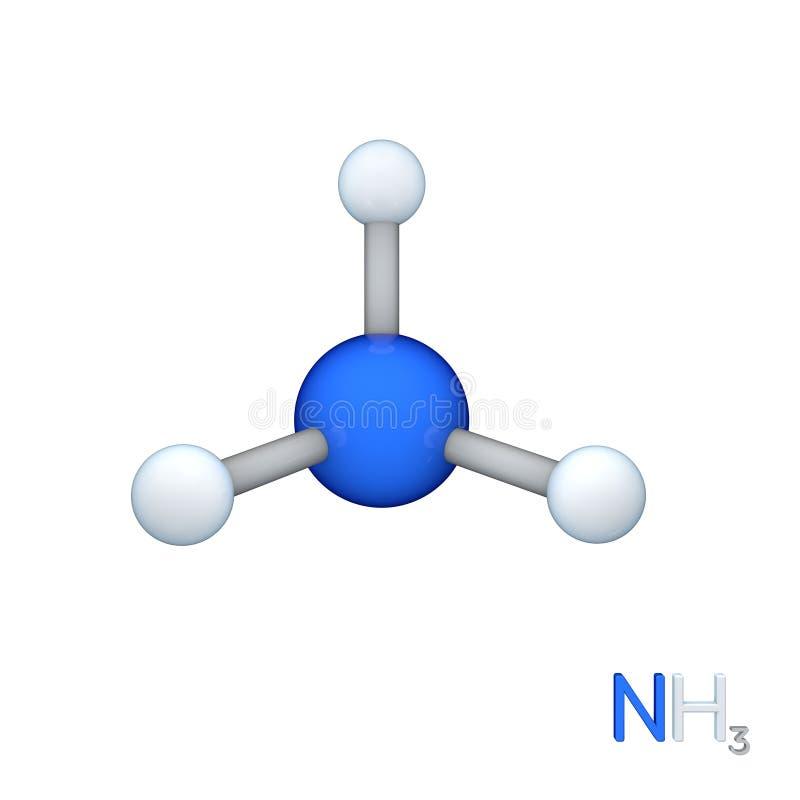 氨式样分子 背景查出的白色 3D renderi 皇族释放例证