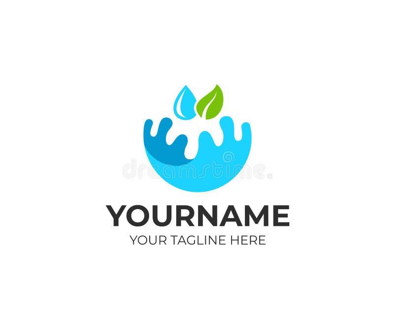 水、叶子和下落,商标模板飞溅  生态上纯净,自然水和浇灌植物,传染媒介设计 库存例证