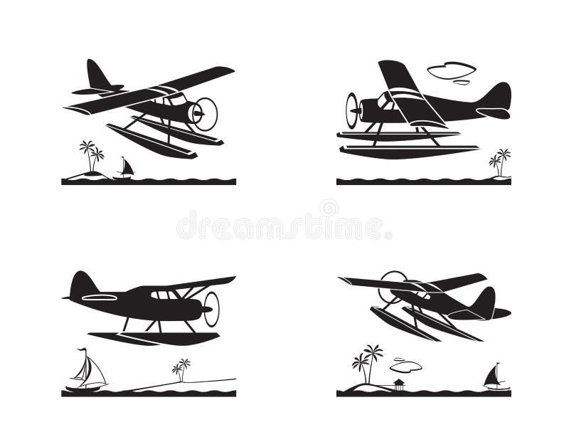水上飞机在飞行中在海 向量例证