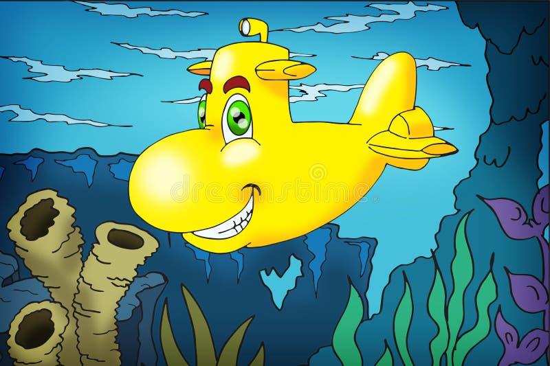 水下水下的黄色 库存例证