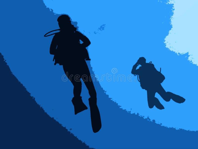 水下潜水员的水肺 皇族释放例证