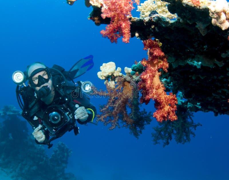 水下照相机的人 库存图片