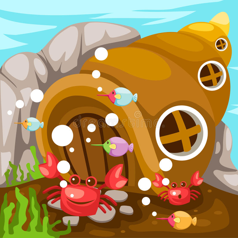 水下生活的海景 库存例证