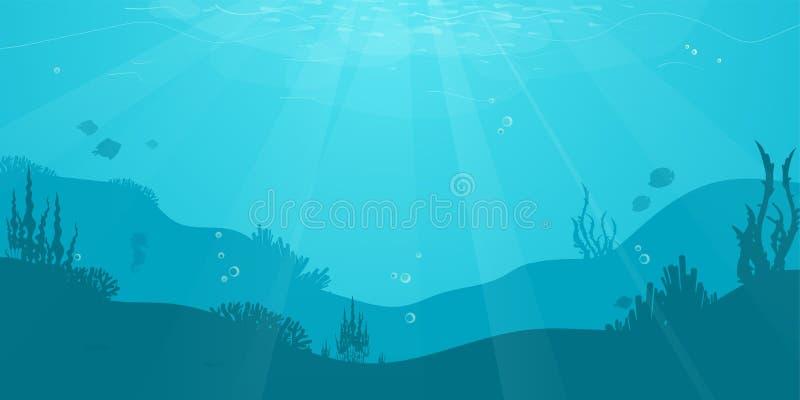 水下的与鱼剪影,海草,珊瑚的动画片平的背景 海洋海洋生活,逗人喜爱的设计 皇族释放例证