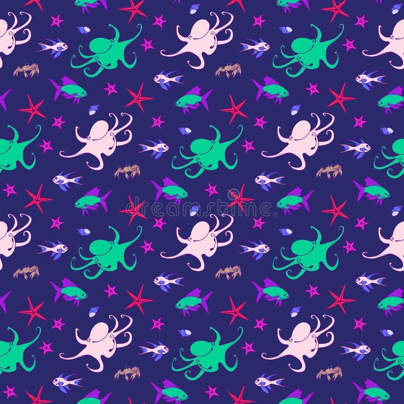 水下的与鱼,海象,章鱼,螃蟹,壳,海星的生物无缝的样式 动画片传染媒介例证,逗人喜爱的海 皇族释放例证