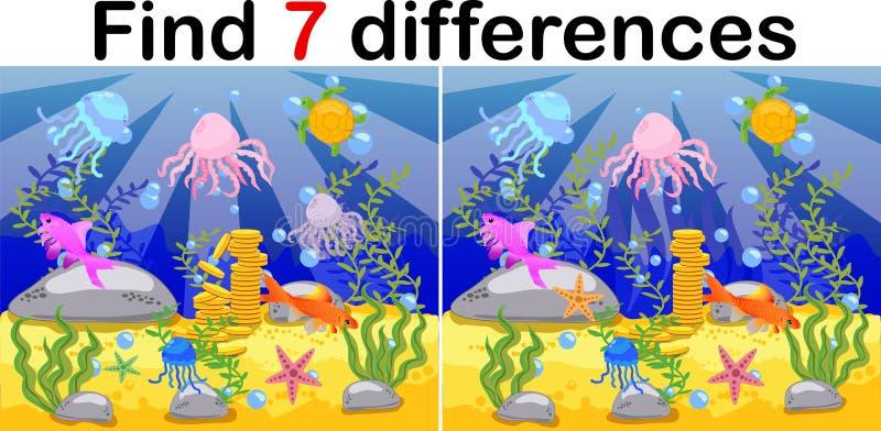 水下的世界、海底用章鱼,潜水艇、鲸鱼、鱼、珊瑚和海壳 孩子的教育比赛:发现十 向量例证