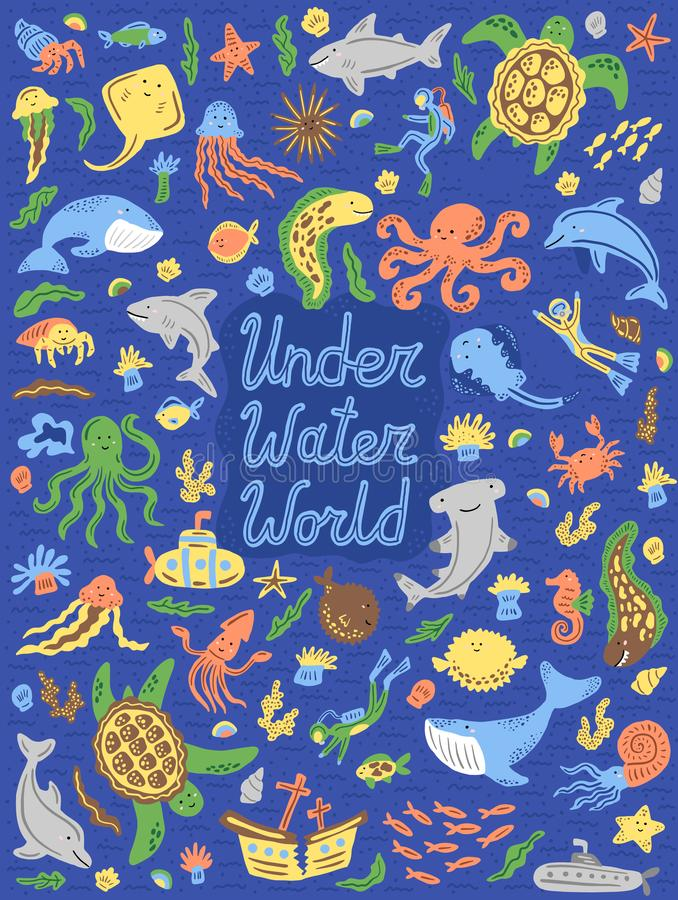 水下的世界收藏 设置逗人喜爱的动画片动物,潜水者,潜水艇 也corel凹道例证向量 免版税图库摄影