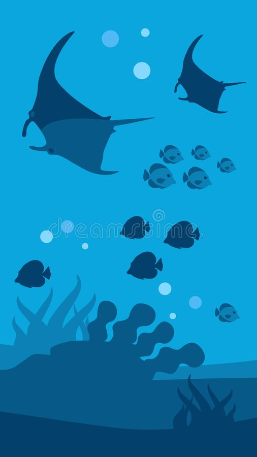 水下的世界横幅平的海景全景 皇族释放例证