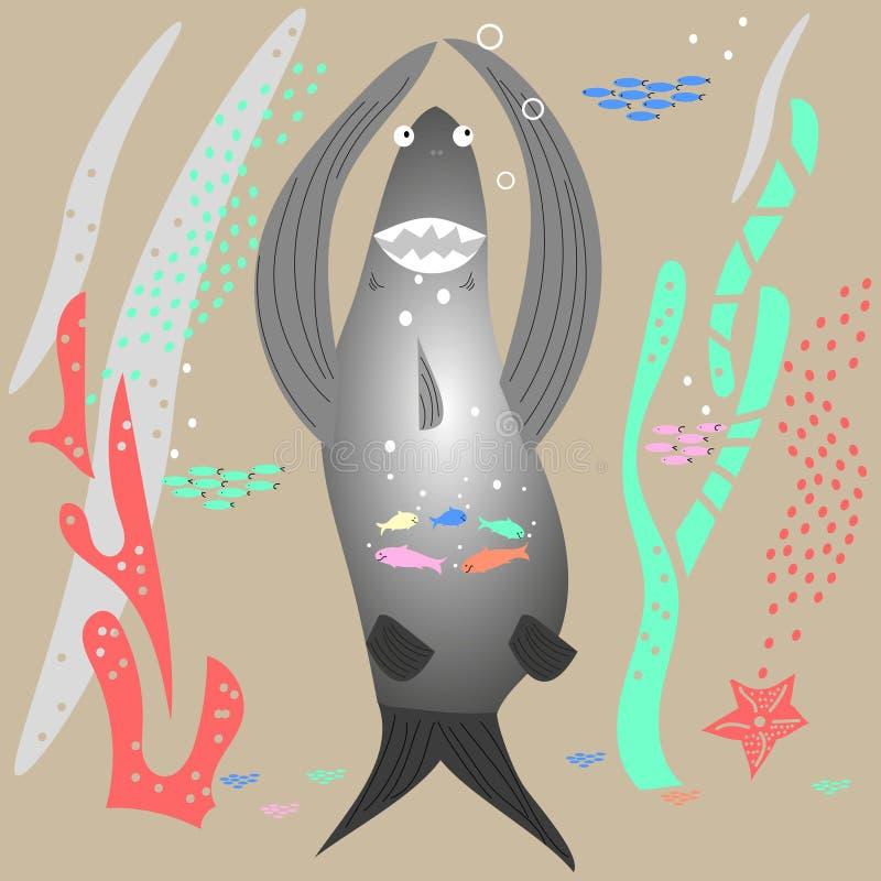 水下的世界,一个大鲨鱼忍受小鱼群  平的样式,手拉,斯堪的纳维亚样式,时兴的色板显示 库存例证