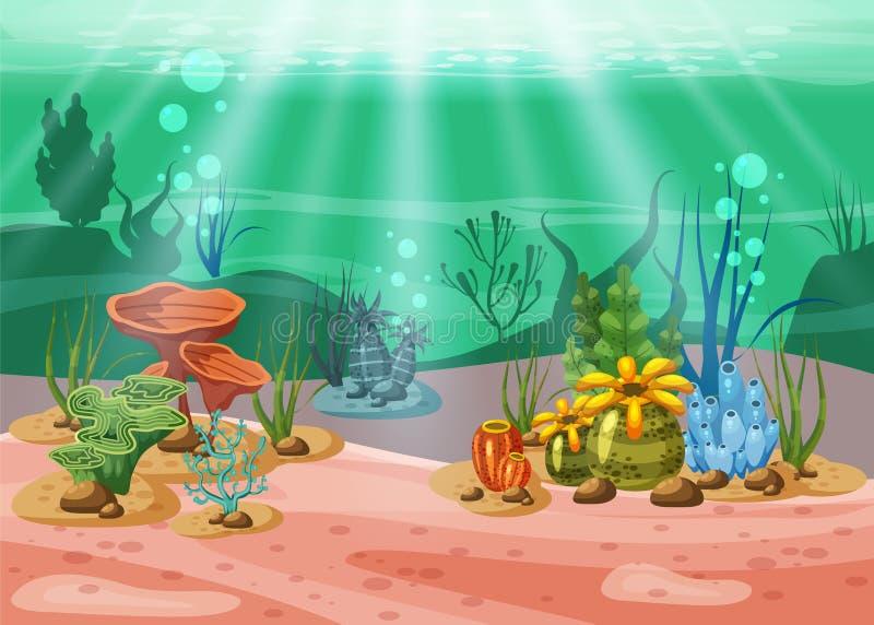 水下的例证和生活 海洋生物秀丽  海藻和珊瑚礁是美丽和五颜六色的,传染媒介 向量例证