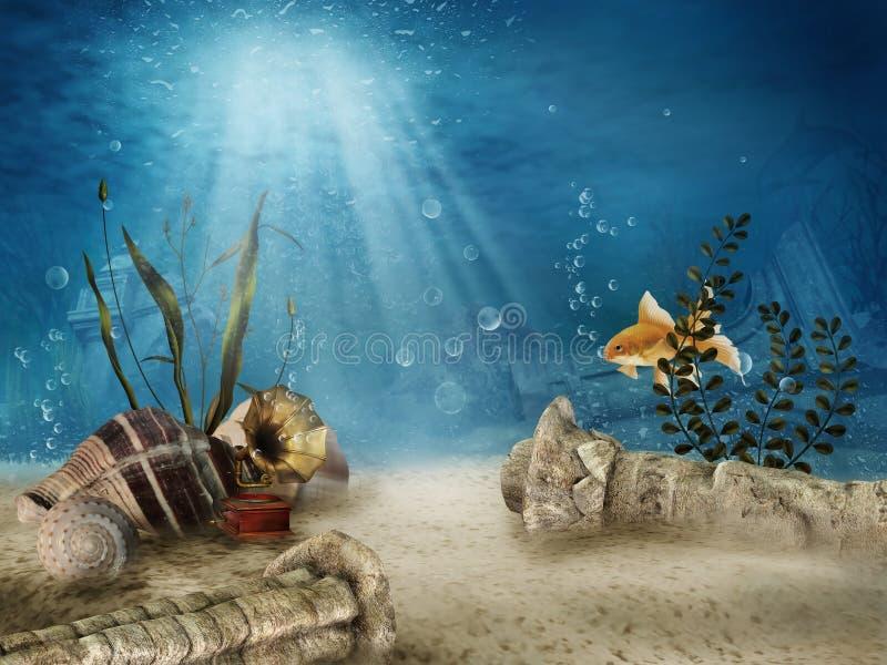 水下的废墟 向量例证