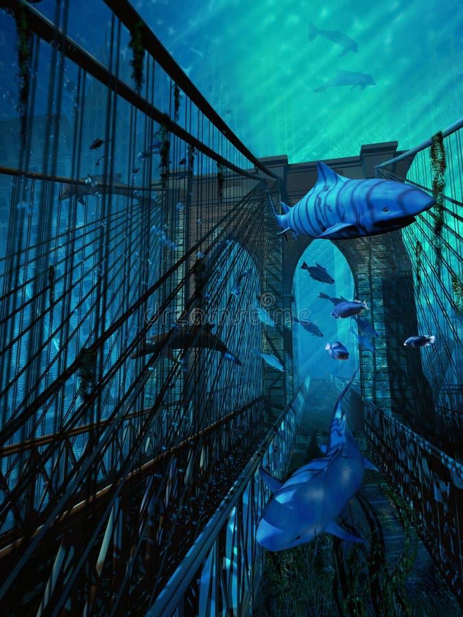 水下的曼哈顿 向量例证