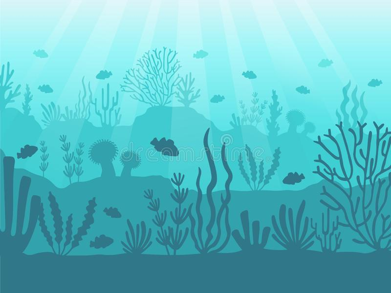 水下的海景 海洋珊瑚礁、深海底部和游泳在水下 海洋珊瑚背景传染媒介 向量例证