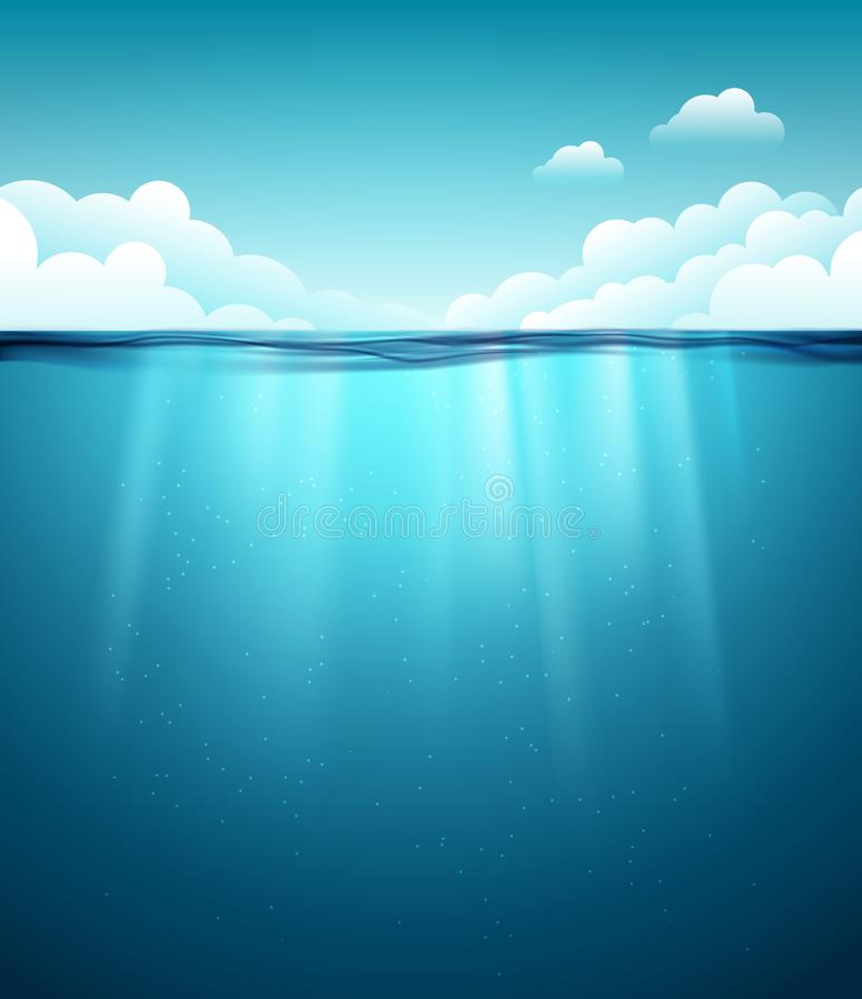 水下的海洋表面 背景大海 清洗自然海水下的背景与天空 向量例证