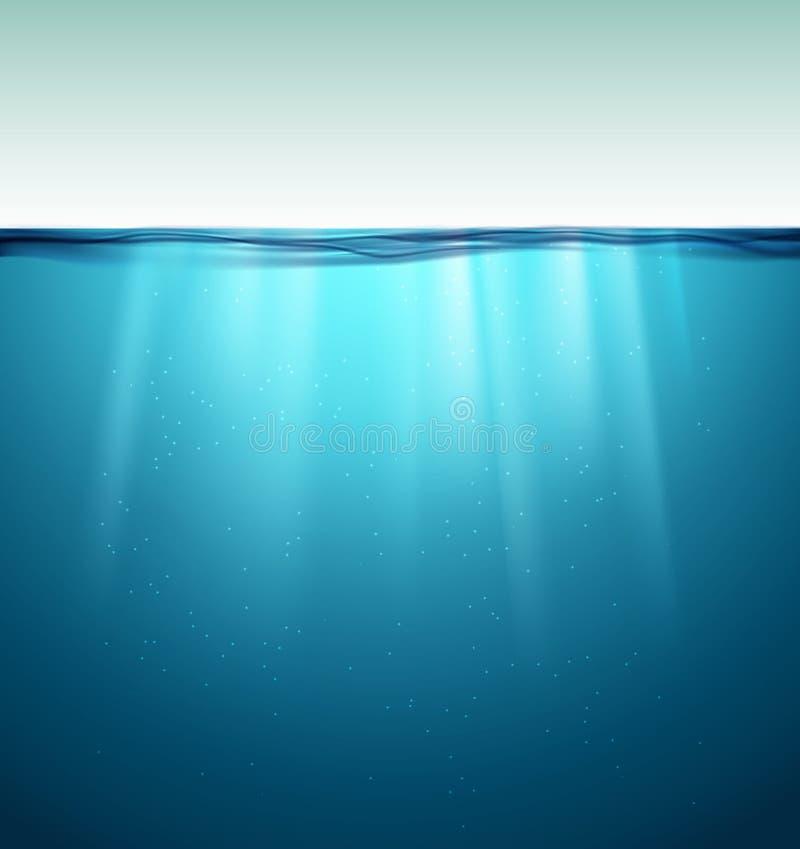 水下的海洋表面 r 干净的自然海水中背景 库存例证