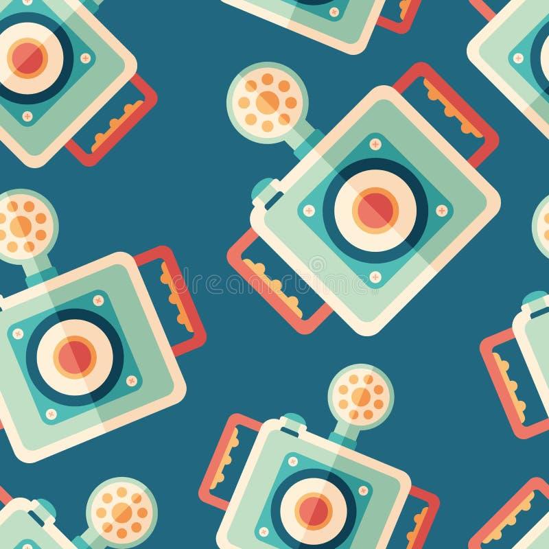 水下的照相机平的象无缝的样式 库存例证