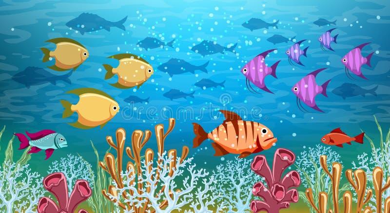 水下的生活全景 皇族释放例证