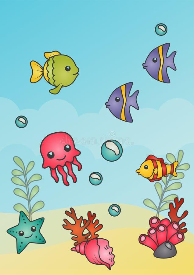 水下的背景 纸盒与鱼、jelllyfish、海星和珊瑚的样式海景 向量例证