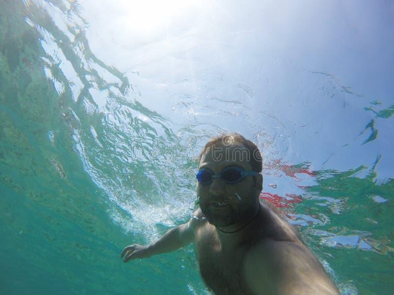 水下的Selfie 库存照片