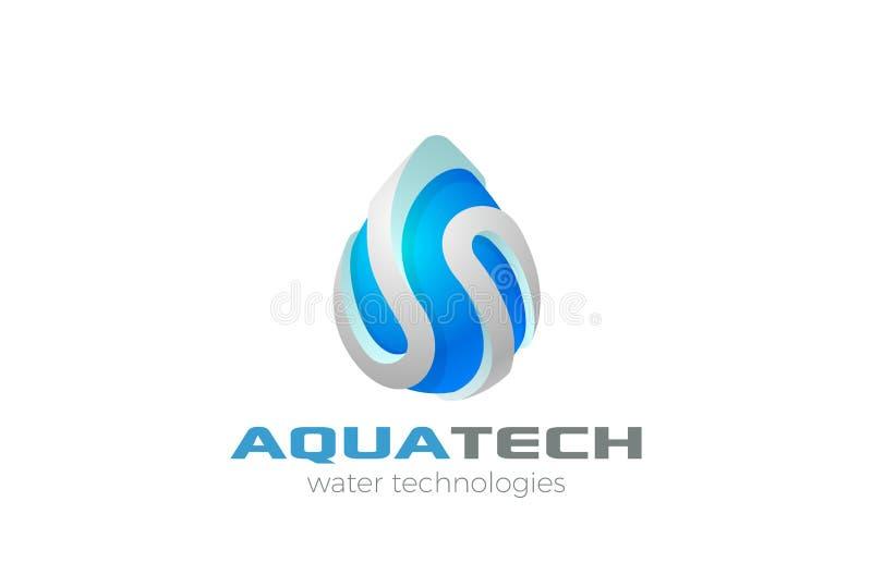 水下落商标传染媒介 饮料水色过滤器小滴 向量例证