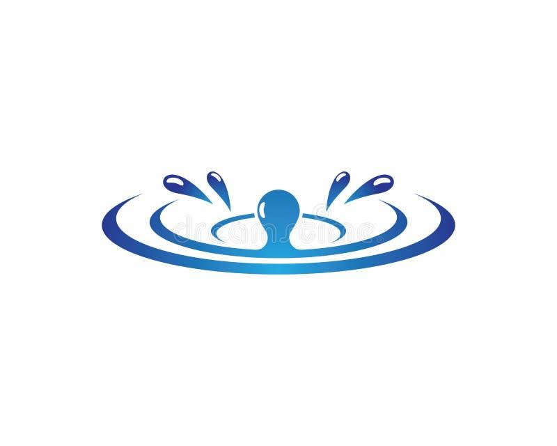 水下落商标模板例证 向量例证