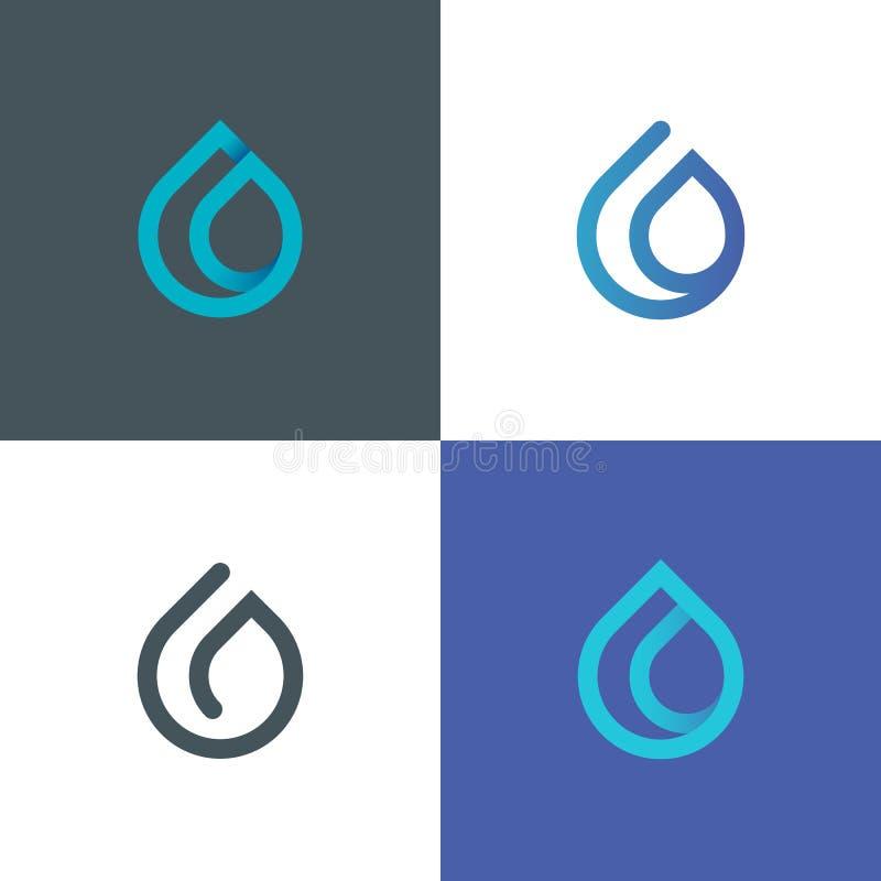 水下落商标的传染媒介例证 梯度小滴象 自然能量设计元素 向量例证