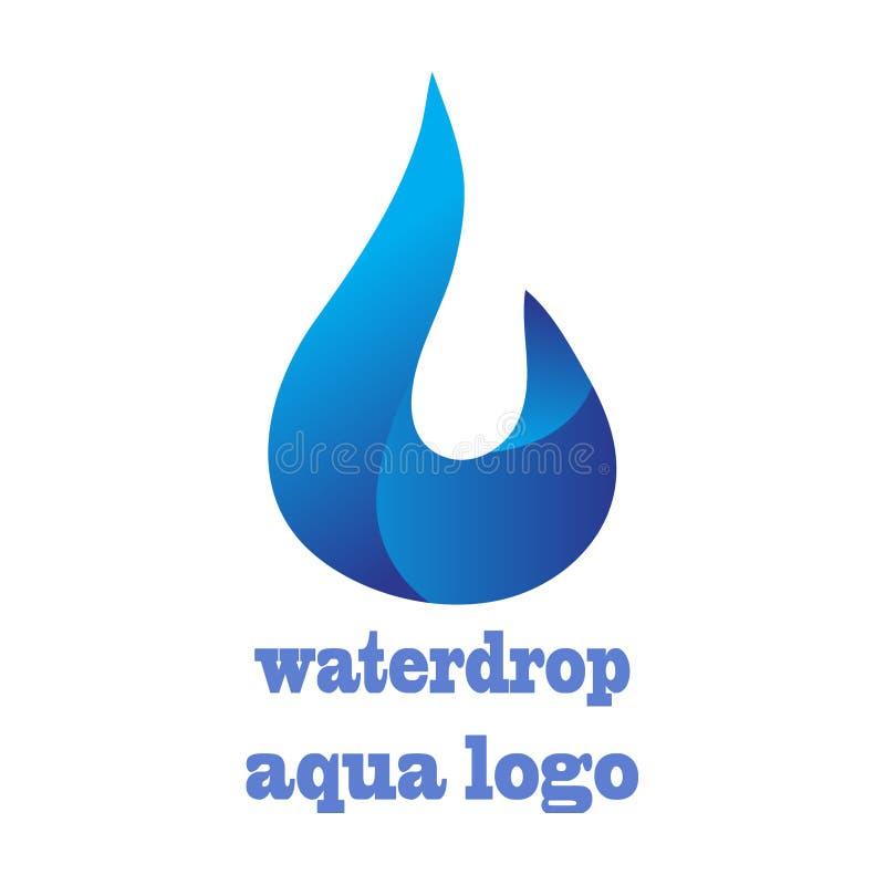 水下落商标设计3D传染媒介模板 无限水色小滴 皇族释放例证