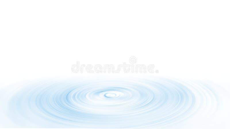 水下落在被隔绝的白色背景的波纹表面 向量例证