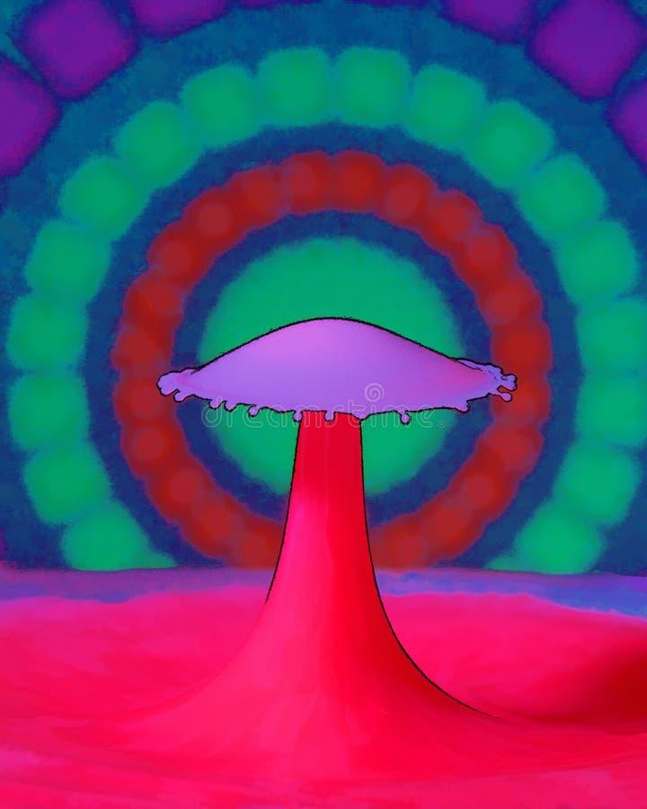 水下落形状的动画片图画 库存例证