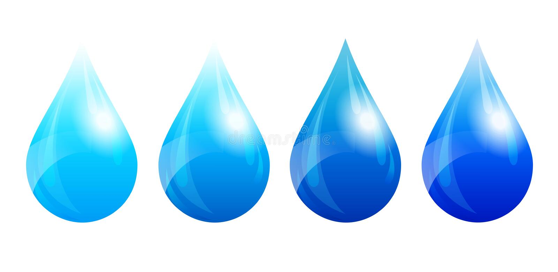 水下落,水滴,四个颜色版本 皇族释放例证