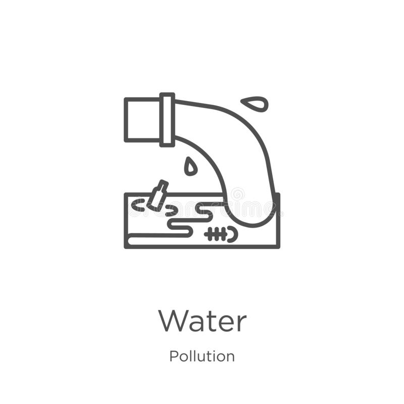 水从污染汇集的象传染媒介 稀薄的线水概述象传染媒介例证 概述,稀薄的线水象为 库存例证