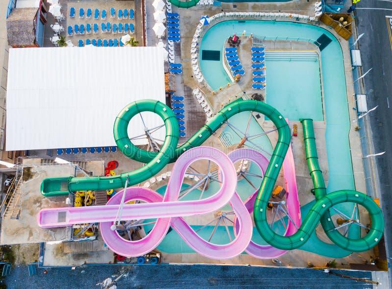 水公园滑天线 图库摄影