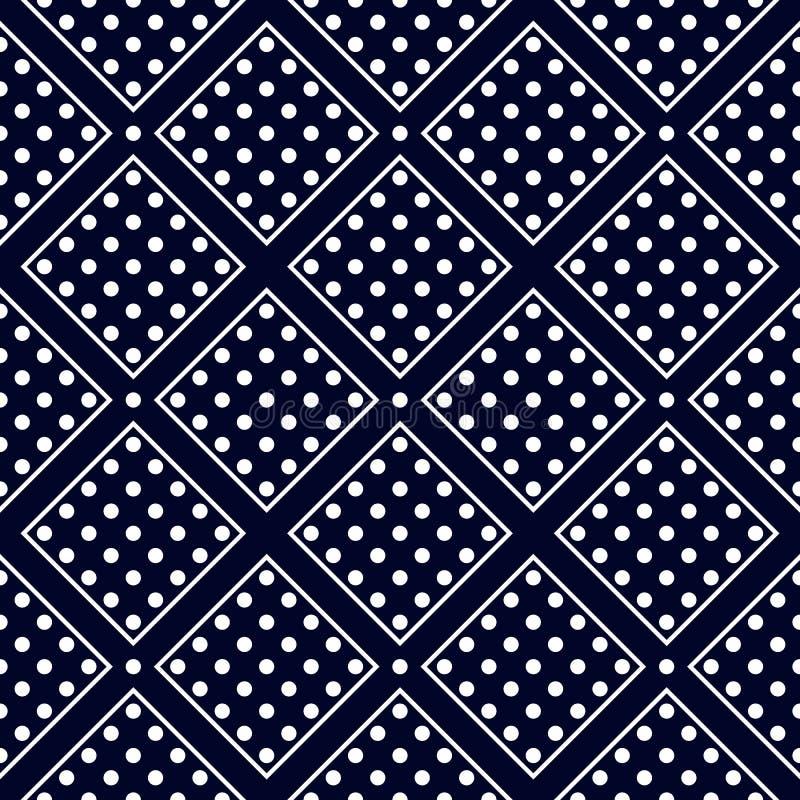 水军蓝色和白色 正方形镶边无缝的圆点样式 传染媒介现代设计例证 皇族释放例证