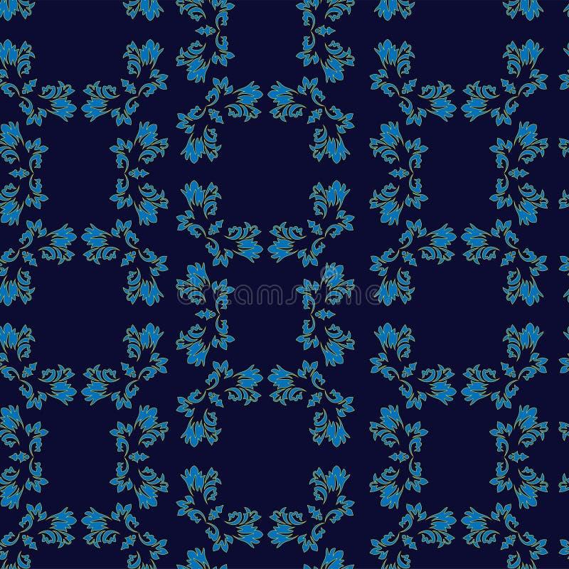 水军蓝色背景ditzy花卉孔雀眼睛羽毛主题 葡萄酒印度人小佩兹利在深蓝色的设计离开 向量例证