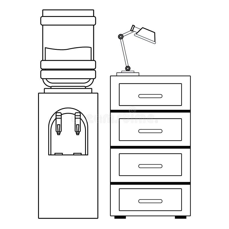 水分配器和黑白的文件柜 皇族释放例证