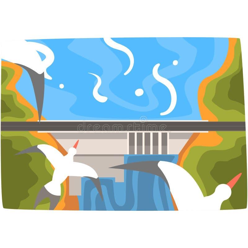 水力发电站,与氢结合的能量工业概念,更新资源水平的传染媒介例证 库存例证