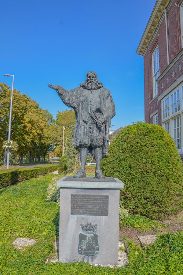 水力工程师Leeghwater雕象霍夫多普的荷兰 免版税库存照片