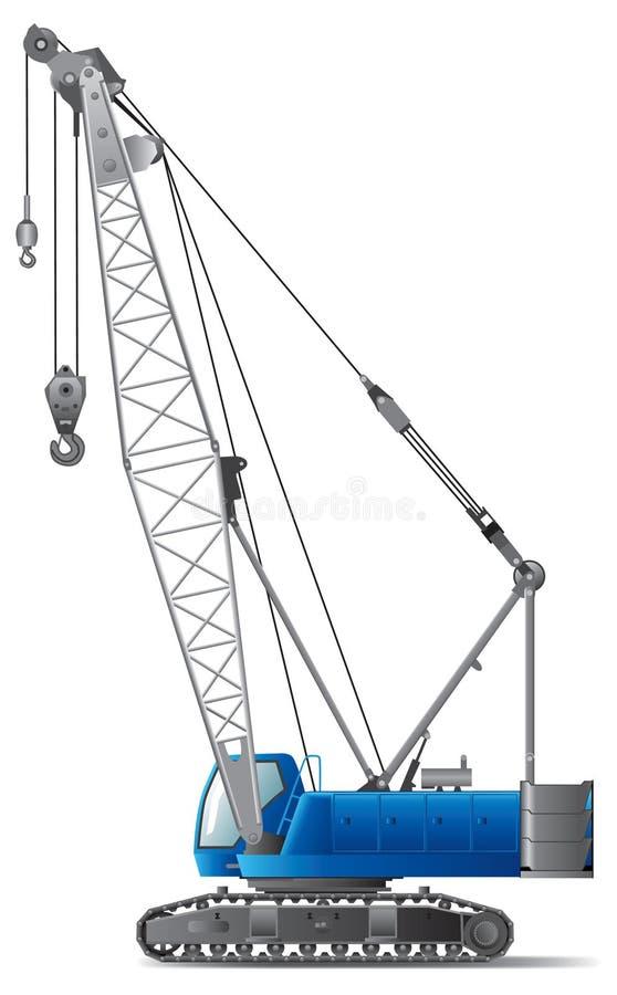 水力起重机的履带牵引装置 向量例证