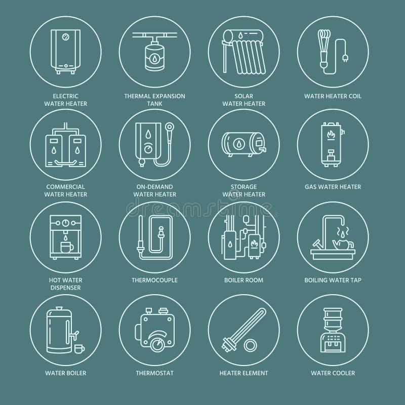 水加热器、锅炉,温箱,电,气体、太阳能加热器和其他房子供热设备排行象 稀薄线性 库存例证