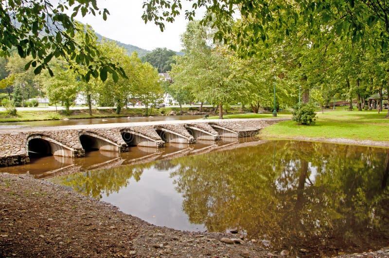 水反映和桥梁 免版税库存照片