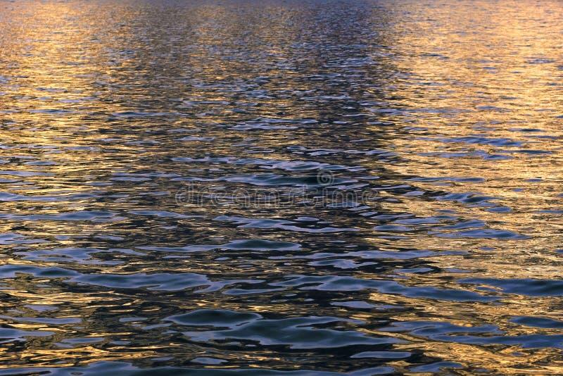 水和反映晚上太阳 免版税库存照片