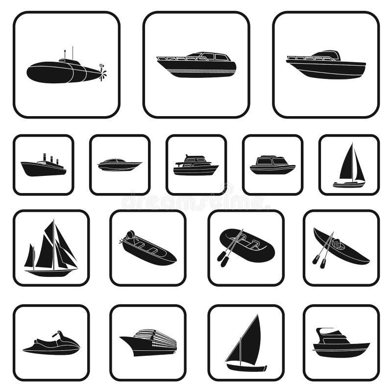 水和海运染黑在集合汇集的象的设计 各种各样的小船和船导航标志储蓄图片