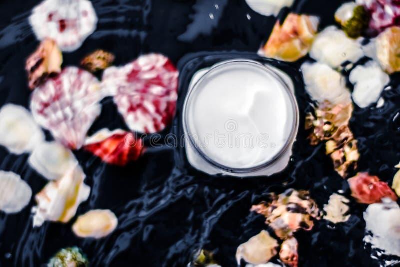 水和贝壳背景的敏感护肤保湿美容面霜,豪华抗衰老化妆品 免版税库存照片